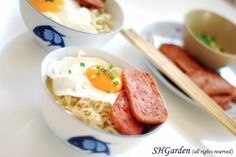 ramen with spam and egg