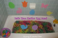 what a FUN bath time experience for the little ones! dye the water purple (or whatever color your child will love ;), fill with easter basket grass, hide plastic eggs filled with bathtime goodies in them and let your child explore! then when all the eggs are found strain the grass in kitchen strainer and let them play in the fun colored water! so much fun and pretty easy to clean up <3