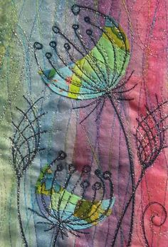 Pictures on request free motion embroidery isobel moore - Textile art - - Freehand Machine Embroidery, Free Motion Embroidery, Free Motion Quilting, Embroidery Applique, Embroidery Stitches, Embroidery Patterns, Sewing Stitches, Stitching Patterns, Modern Embroidery