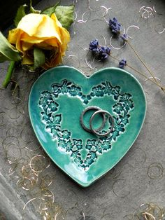 Valentines Day Heart Jewelry Dish Floral Wreath by Ceraminic