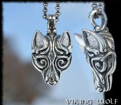Sterling Silver Viking Wolf Head Pendant Necklace Celtic Pagan Jewelry Jewellery Borre Scandinavia Iceland