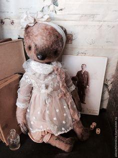 Купить Нежность - кремовый, мишка, мишки тедди, ретро, мишка в платье, мишка в одежде, кружево