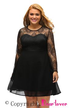 Black Boohoo Plus Size Lace Top Skater Dress