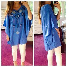 Gorgeous Aztec Sky Blue Kimono Top Gorgeous!!! Perfect over leggings or shorts or wear as a mini dress! Tops