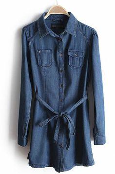 Blue Long Sleeve Drawstring Waist Denim Dress