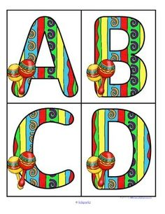 ***FREE***  This is a set of large upper case letters with a Cinco de Mayo or a Mexican fiesta theme.  Use to make matching and recognition games for preschool and pre-K children. Large enough for bulletin board and room décor.