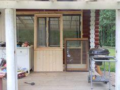 Saunan oven nikkarointi hyödyntäen vanhaa 2-kertaista ikkunaa karmeineen