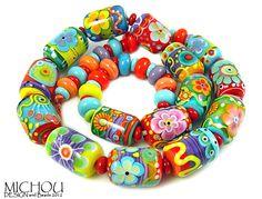 Sugar Pops & Spacers   67 Lampwork beads by Michou of michoudesign