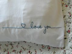 love you pillows 1 & 2 - Pillows Case - Ideas of Pillows Case - I want this for my future husband. Cross Stitch Pillow, Cross Stitch Embroidery, Embroidery Patterns, Hand Embroidery, Machine Embroidery, Tambour Embroidery, Machine Applique, Boyfriend Pillow, Boyfriend Gifts