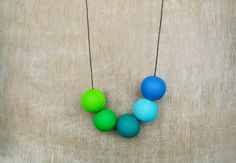 Green And Blue Polymer Clay  Necklace Bold Round Beads by JullMade, €30.00