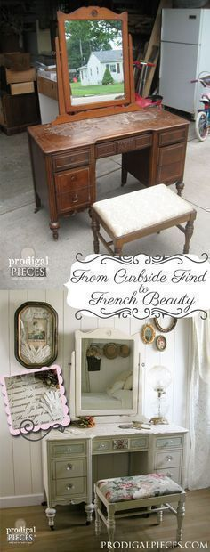 From curbside to French beauty - Shabby Chic Furniture using French quotes and lettering stencils - Royal Design Studio designer stencils for furniture makeover DIY projects #shabbychicfurniture