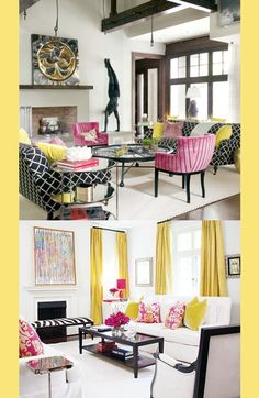 dark wood trim works with a neutral and then pops of color. love the yellow, pink, black scheme