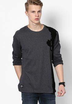af24d0d4de6 Buy GIORDANO Dark Grey Printed Round Neck T-Shirts Online - 3371837 - Jabong