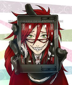 Grell Sutcliff   Black Butler   Kuroshitsuji   ♤ Anime ♤ #anime trapped behind glass