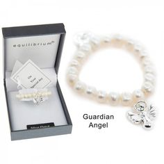 freshwater pearl christening bracelet with guardian angel charm