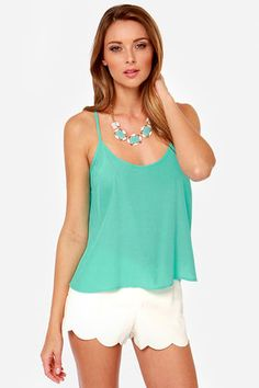 cute spring/summer outfit.  Lucy Love Solid Capri Aqua Tank Top and white scallop short