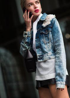 Denim, wash short jacket and red lipstick. Image via Breakfast at Zara's.