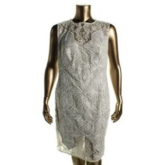 Tadashi Shoji Womens Metallic Embroidered Cocktail Dress, Women's, Size: 16, Silver