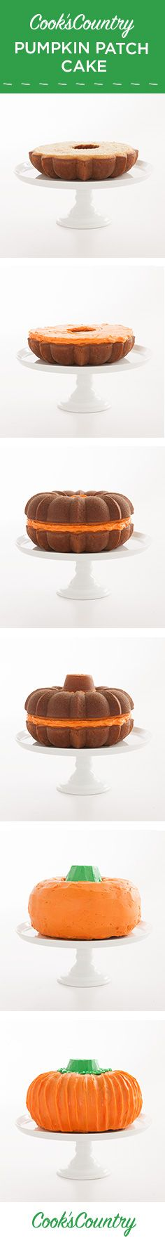 Searching for the perfect Halloween treat? Our Cook's Country Pumpkin Patch Cake is an impressive life-size pumpkin dessert packed with warm spice flavor and sweet buttercream icing. With two Bundt pans, (a cupcake!), and some Halloween spirit you can summon this dessert spectacle in a snap.