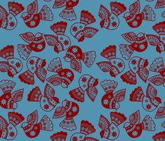 oiseaux serigraphie fond bleu by nadja_petremand, click to purchase fabric