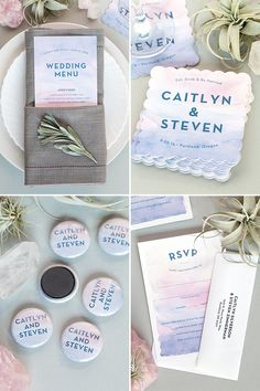 Watercolor Wash Wedding Stationery in Rose Quartz and Serenity | www.evermine.com