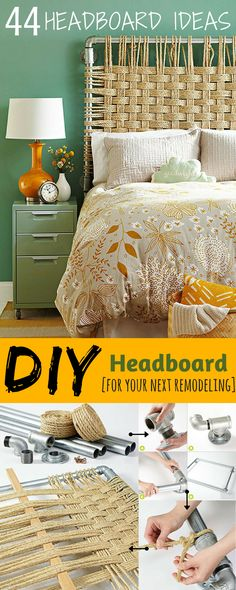 44 Unique DIY Headboard decorating ideas for guest bedrooms, master bedrooms, and kids' rooms.
