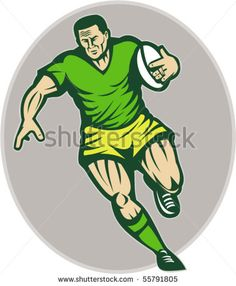 vector illustration of a Rugby player running with ball - stock vector #rugby #retro #illustration