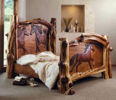 Log Bed Frame with carved horses. This is amazing! Rustic Log Furniture, Western Furniture, Wood Furniture, Furniture Design, Bedroom Furniture, Bedroom Decor, Bedroom Ideas, Bedding Decor, Bed Ideas