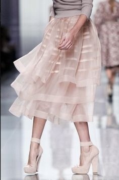 Grey Sweater, Pale Pink Sheer Tiered Skirt, Matching Ankle Strap Heels via Christian Dior // twirl