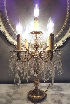 Brass Crystals Vintage Winged Angel 5arm Candelabra Free