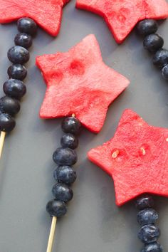 Fruit Sparklers made with watermelon stars and blueberries   Tastes Better From Scratch