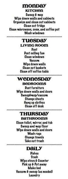 13 Quick Cleaning Tips: Clean Your House Fast 13 Quick Cleaning Tips: Clean Your House Fast,Haushalt Cleaning Schedule – lots of chores assigned each day, but I think once you get in the habit,. Diy Cleaning Products, Cleaning Solutions, Cleaning Hacks, Cleaning Schedules, Organizing Tips, Deep Cleaning, Cleaning Routines, Home Cleaning, Apartment Cleaning Schedule
