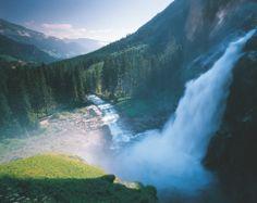 The breathtaking view of Austria's highest waterfalls at village Krimml.  ©…