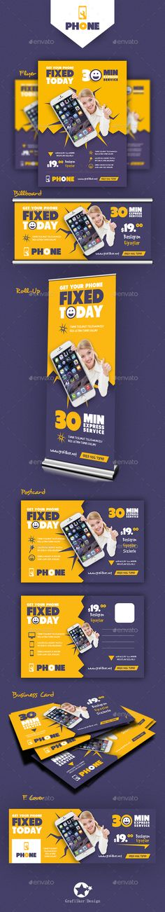 Phone Repair Bundle Templates PSD, InDesign INDD. Download here: https://graphicriver.net/item/phone-repair-bundle-templates/17507948?ref=ksioks