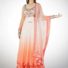 pink & coral floor length #Anarkali by Bridal & 'Bollywood' #Couture Designer http://www.ADSingh.com/
