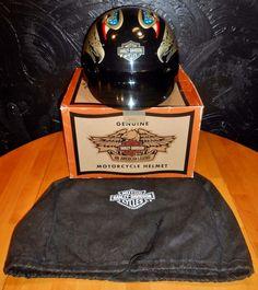 2002 Harley Davidson Size S Black Screamin Eagle Unisex Motorcycle Half Helmet #HarleyDavidson