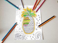 ananas tropicale pagina da colorare per adulti zen meditazione stampare estate stampabile instant download disegno digitale lasoffittadiste