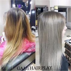 Grey hair , it's all what women want. Spring hair !   #dark blond hair #olaplex #beforeandafter. Find us on : https://m.facebook.com/gaalhair/