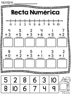 Rectas Numericas / Recta numerica - 6 Number Lines cutting and pasting worksheets IN SPANISH for practicing adding and subtracting on a number line