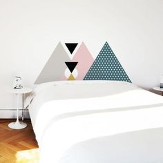 This Skagen pink headboard wall decal is the perfect way to update your bed for back to school season. The simple form and bold design lends a unique look that is sure to brighten up any bedroom! Pink Headboard, Diy Headboards, Headboard Decal, Painted Headboard, Wallpaper Headboard, Faux Headboard, Home Bedroom, Bedroom Decor, Bedrooms
