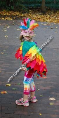 Handmade Rainbow Bird Costume: My daughter wanted to be a Rainbow Bird Costume. After three years of princesses, I decided that I HAD to make it work. Since I could not buy one, I made