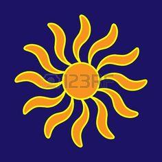 sunshine: Sign of sun. Colorful sunlight  . Orange plane icon isolated on blue background. Light flat silhouette. Weather mark. Sunshine symbol. Stock vector illustration Illustration