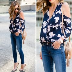 Floral Cold Shoulder Jeans Skinny Scuri 131e6e1fc51