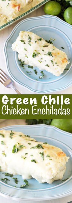 These easy to put together Green Chile Cream Cheese Chicken Enchiladas are a classic American family favorite. This version is quick to put together using fresh ingredients.