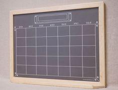 "Framed Wall Calendar black ""industrial chalkboard"" calendar dry erase board - framed"