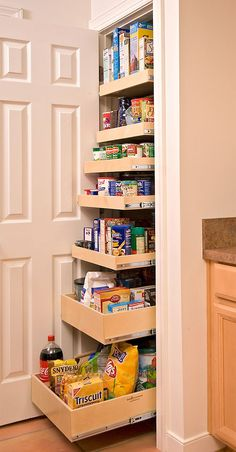 roll-out pantry is a great solution for a small kitchen - Shelterness