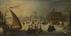 Landschap met een bevroren gracht, schaatsers en een ijsschuit, Adam van Breen, 1611