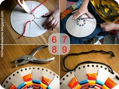 Tutorial ☀ Woven Cereal Box Sun ☀    You will need:    A cereal box  Several bits of variously coloured yarn  Plate or round thing to use as a template  Pencil  Ruler  Pair of scissors  Hole punch