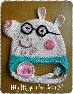 Daddy Peppa Pig  Crochet Hat Made with Soft by MyMagicCrochetUS