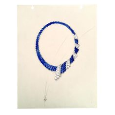 1stdibs - Sapphire & Diamond Necklace Rendering ca.1950 explore items from 1,700  global dealers at 1stdibs.com